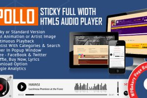 Apollo - Sticky Full Width HTML5 Audio Player for WPBakery Page Builder Download Free