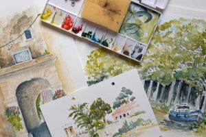Watercolor painting outside or 'en plein air.' How to start Udemy Course Free